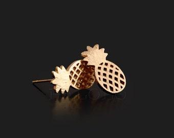 Pineapple Golden Stud Earring Post Finding (ET027A)