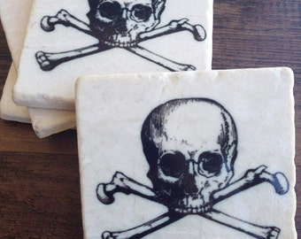 Skull & Crossbones drink coasters - geekery - gift for him - guy gift