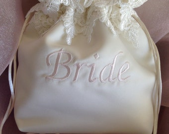 WEDDING BRIDAL BAG, Ivory Embroidered Drawstring Bag w/White Double lace, Money Bag, Keepsake/Heirloom Bag, Special Occasion Bag
