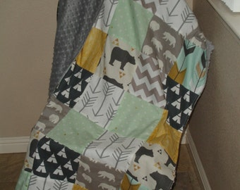 Bear Country Navy Gold Gray Mint Minky Blanket You Choose Size MADE TO ORDER No Batting