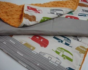 Retro Campers Receiving Blanket or Lovey Minky Minky Blanket 20 x 30 READY TO SHIP