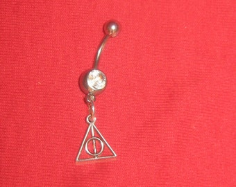 Harry Potter inspired Deathly Hallows Belly Ring 14 gauge cz