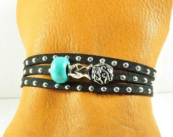 Multi wrap bracelet with sterling fish modern hippy wrap