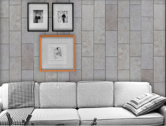 Concrete Tile Easy Peel And Stick Wallpaper 8' Panel