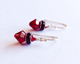 ruby red earrings - crystal earrings - garnet earrings - 3 year anniversary gift - 15th anniversary -  July Birthstone - crystal jewelry