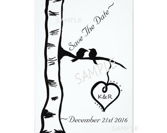 Birch tree birds save the date cards and envelopes flat blank card wedding engagement couples black birds trees custom cards rustic