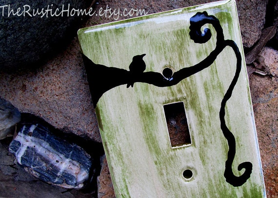 Black bird rustic light switch plate cover kiln fired pottery single double or triple switch made to order moss green greens black birds