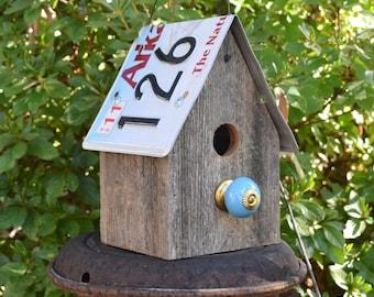 Rusic Birdhouse - Primitive Birdhouse - License Plate Birdhouse - Recycled Birdhouse