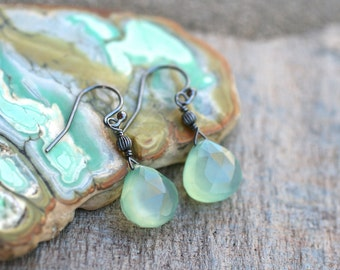 Mint Green Chalcedony Tear Drop Oxidized Sterling Silver Wire Wrapped Handmade Earrings