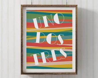 Spanish Numbers print, PRINTABLE number art, numeros, uno dos tres, nursery decor, playroom printable, wall art print, counting print