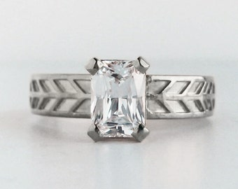 Emerald Cut Moissanite Engagement Ring | Conflict Free Solitaire | 7x5mm Forever Brilliant Moissanite 14k White Gold Ring