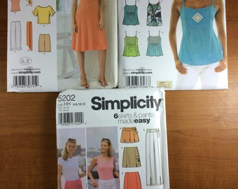 Simplicity 3759 3788 5202 Lot of 3 Sewing Patterns Sizes 4-6-8-10-12  Design Your Own Tops dresses tanks easy skirts and pants