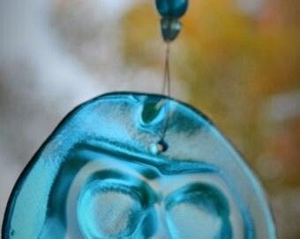 Skeleton Day of the Dead Sugar Skull Suncatcher Blue Glass