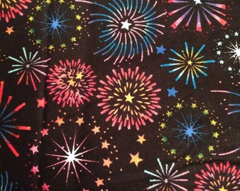 Fireworks Fabric, Fourth of July Fabric, Quilting Fabric, Black Fireworks Fabric, 100 Percent Cotton , 1 Yard