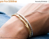 Valentines Day Sale Gold Twig Cuff Bracelet Paired with Sterling Silver Raw Cuff Bracelet | Bracelet Set