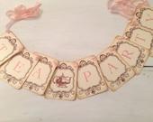 Tea Party Banner Garland Sign Vintage Inspired Bridal Shower Decoration