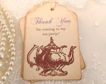 Lavender Tea Party Tags Thank You Tags