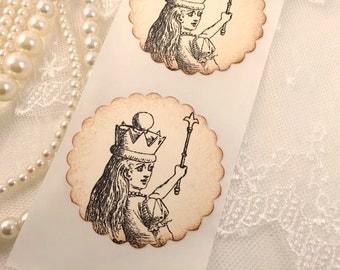 Alice in Wonderland Stickers Seals - Set of 10