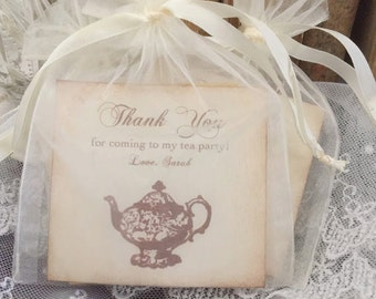 Tea Party Favor Bags With Tea Set of 10 Fully Assembled Personalized Bridal Shower Thank You