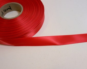 Red Orange Ribbon, Single-Face Red Coral Satin Ribbon 5/8 inch wide x 10 yards