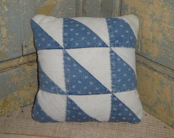 Vintage Quilt Pillow | Antique Quilt Pillow | Old Quilt Pillow | Primitive Pillow | Cupboard Tuck | Shelf Sitter | Small Quilt Pillow
