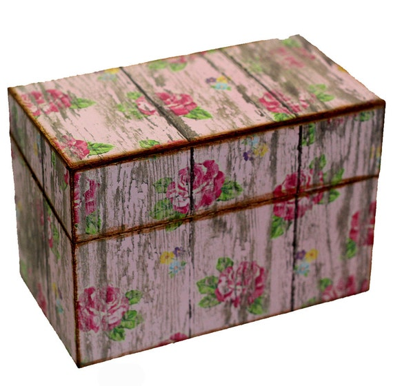 Wood Recipe Box Barn Pink With Pink Roses Fits 4x6 Recipe Cards