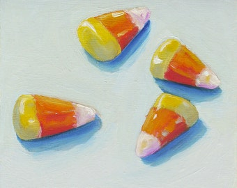 "Candy Corn Original Oil Painitng of candy 4"" x 4"" Home Wall Decor"