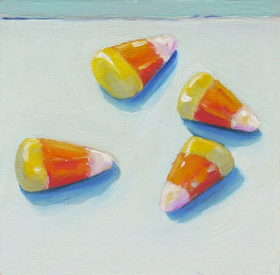 """Candy Corn Original Oil Painitng of candy 4"""" x 4"""" Home Wall Decor"""
