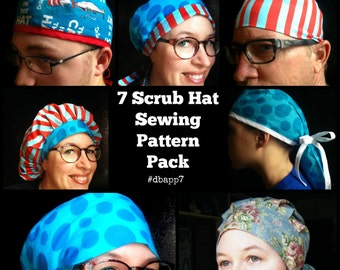 Scrub Hat Sewing Pattern tutorial DIY 7 surgical scrub cap sewing instructions PDF Instant Download #dpapp7