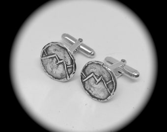 Rustic Mountain Cufflinks, Recycled Silver, Eco-Friendly