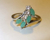 Genuine Emerald & White Topaz Cluster Ring - Beautiful Natural Gemstones  in Sterling Silver