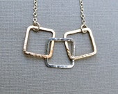 Mixed Metal Squares Necklace Hammered Links Argentium Sterling Silver 14KT Rose Yellow Goldfill Chain Gift for Mom