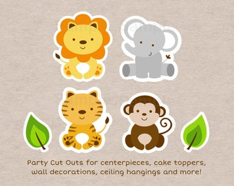 Safari Animal Cut Outs / Safari Baby Shower / Jungle Animal Baby Shower / Safari Animal Decorations / Printable INSTANT DOWNLOAD A100