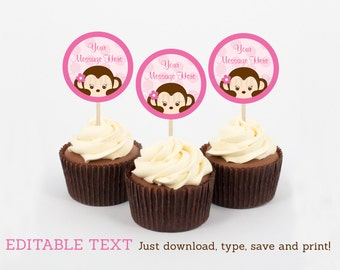 Girl Monkey Cupcake Toppers / Party Favor Tags / Party Circles / Monkey Baby Shower / INSTANT DOWNLOAD Editable PDF