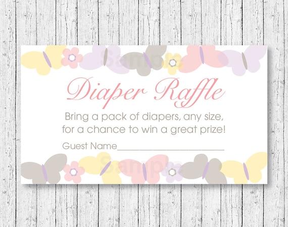 Cute Butterfly Diaper Raffle Tickets Butterfly Baby Shower