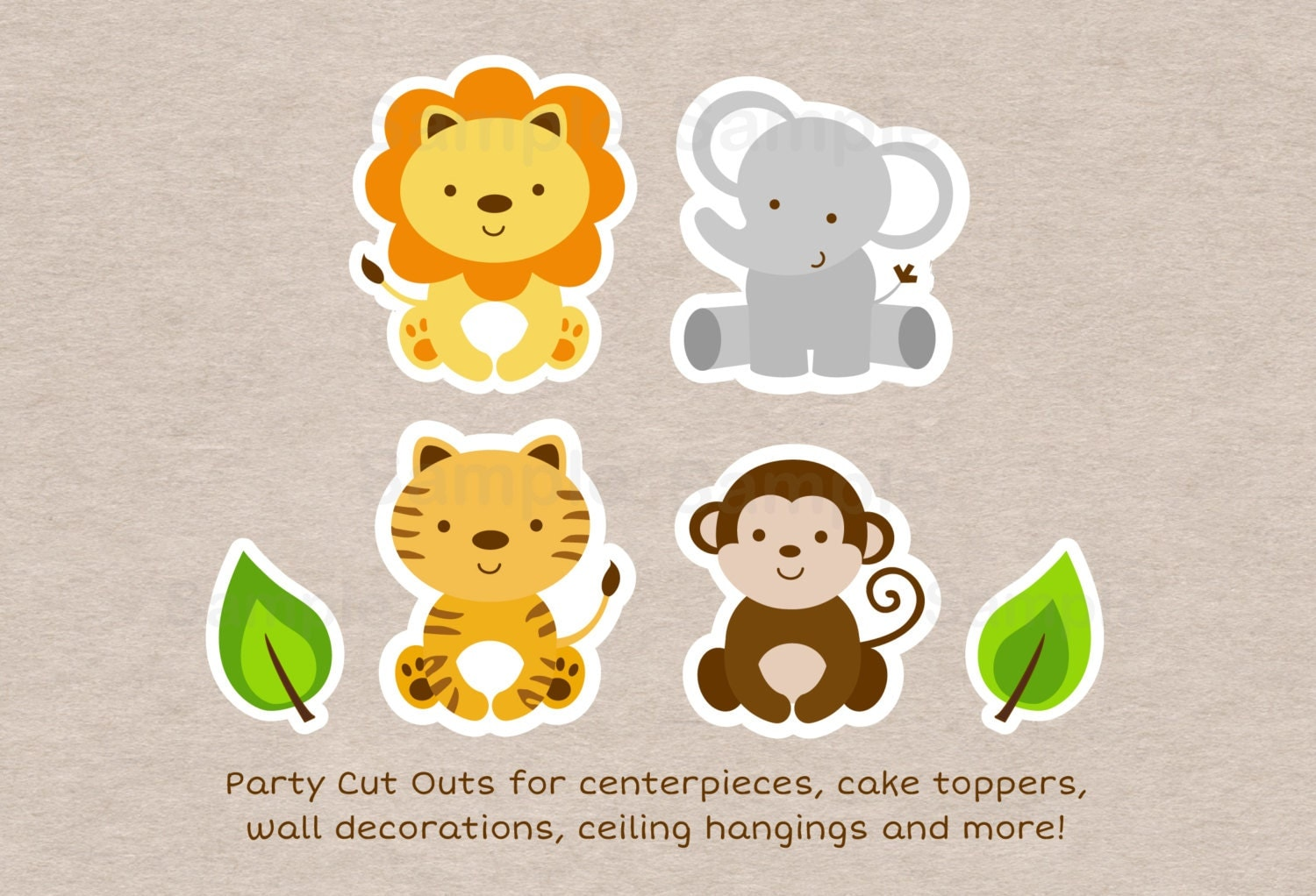 This is a photo of Peaceful Printable Jungle Animals