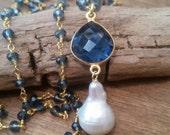 Iolite Stone Necklace Baroque Pearl Drop