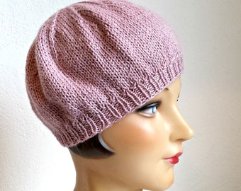 Knit Beret in Rose Quartz - Women's Beret Hat - Knitted Beret - READY TO SHIP via 3 Day Priority