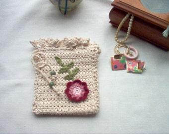 Victorian Rosette Gift Bag Sachet Crochet Lace Thread Art