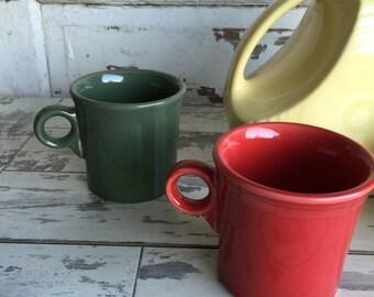 Vintage Fiestaware Coffee Mugs - Red or Green