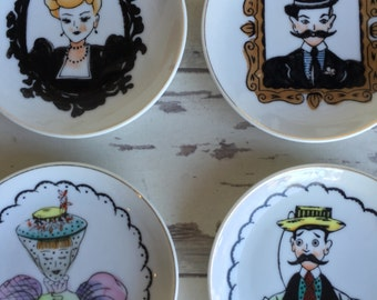 Vintage Lefton Mini Plates - Gay 90s Man and Women - Set of 4 Decorator Porcelain