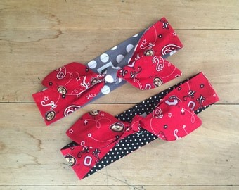 OSU Headband- Ohio State Buckeyes- Brutus- Dolly Headband- Tie Head Scarf- Rockabilly- Bow Headband- Red Paisley- Handmade- OSU- KYEties