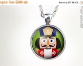 ON SALE Nutcracker GRN : Glass Dome Necklace, Pendant or Keychain Key Ring. Gift Present metal round art photo jewelry HomeStudio. Silver Br