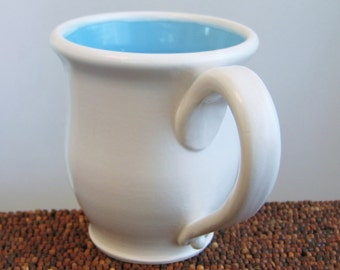Coffee Mug 14 oz. Stoneware Ceramic Handmade Pottery Mug Blue Coffee Cup in Lagoon