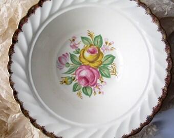 Vintage Serving Bowl Royal Quban Yellow Pink Floral Serving Bowl