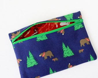 Winter Bear Forest Zipper Pouch Accessory Case