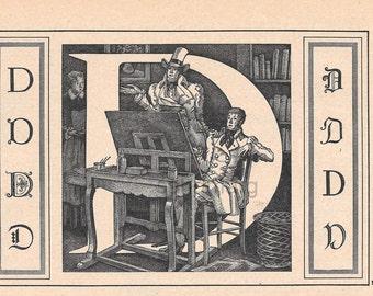 1949 Letter D Vintage Calligraphy Initial D for Design Alphabet Letter ABC  Monogram French Paris