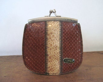 vintage striped SNAKESKIN kisslock CHANGE PURSE - reptile + leather, brown + cream