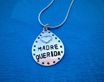 Madre Querida Love Drop Sterling Silver Necklace Mothers Day Mexican Jewelry Artisan Jewelry