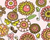 50% OFF Lola's Posies Pink Flowers - 1/2 Yard